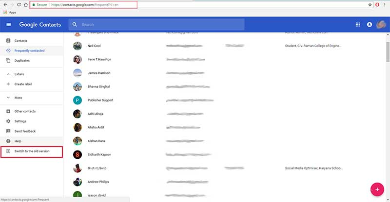 old contacts from gmail